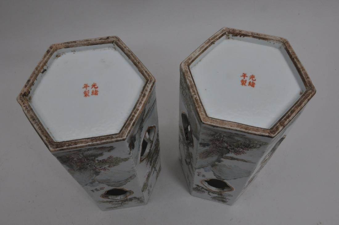 Pair of porcelain hat stands. China. Early 20th - 7