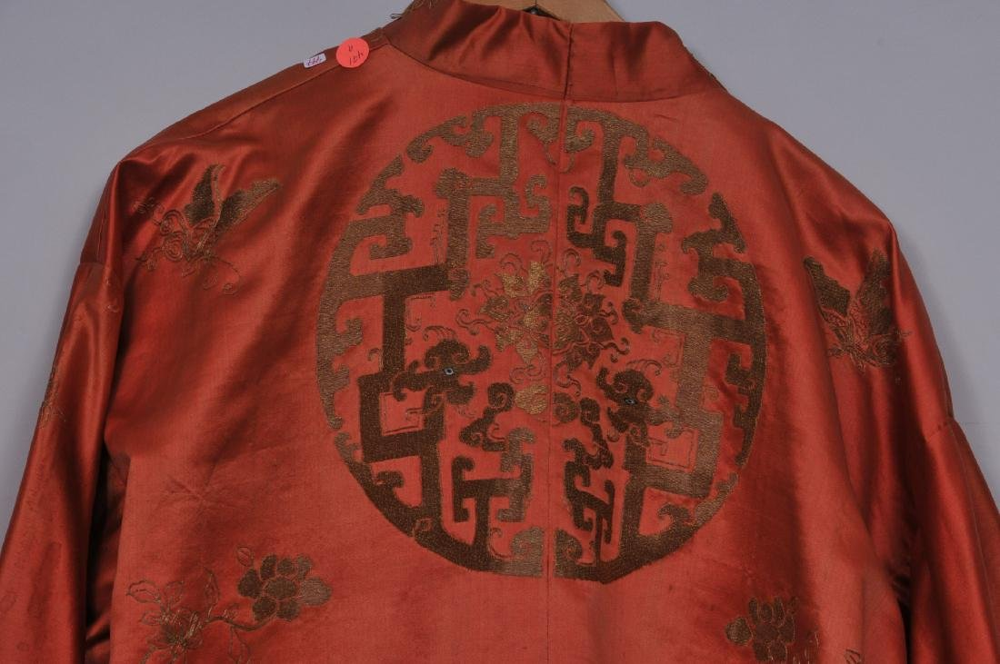 Silk robe. China. 19th century. Gold embroidery of - 8