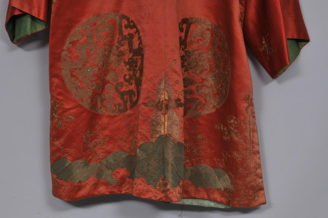 Silk robe. China. 19th century. Gold embroidery of - 9