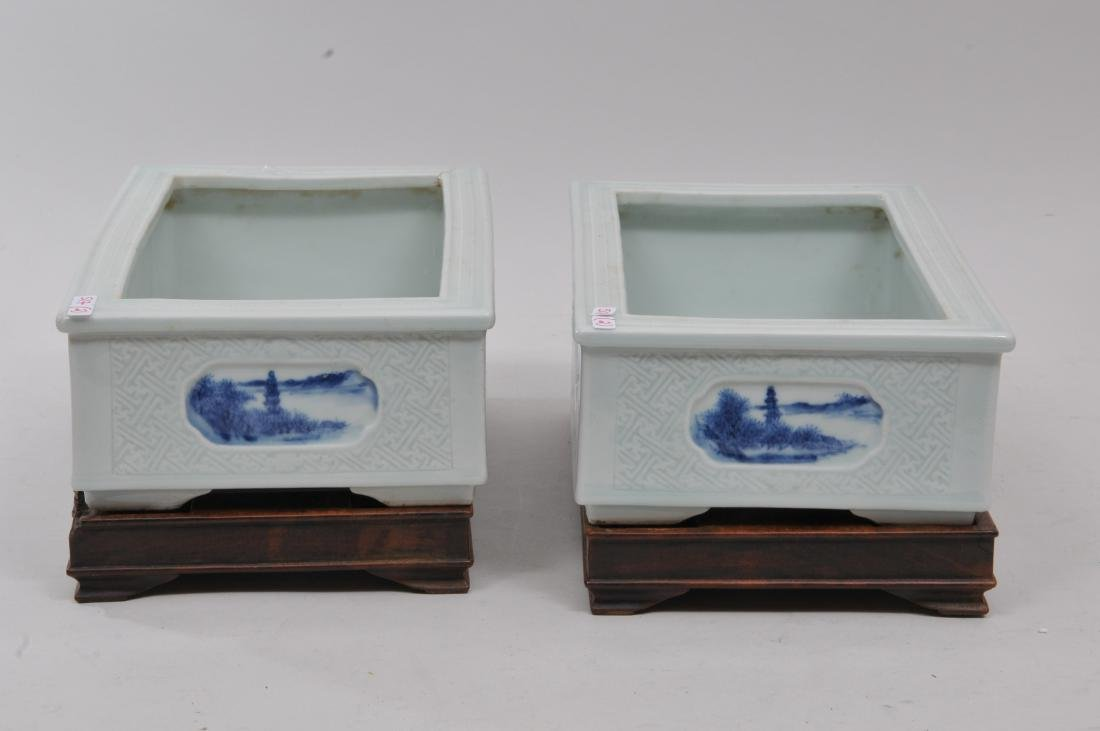 Pair of planters. China. 19th century. Rectangular - 6
