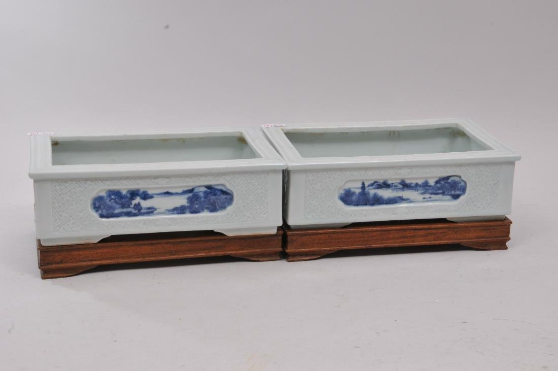Pair of planters. China. 19th century. Rectangular - 8