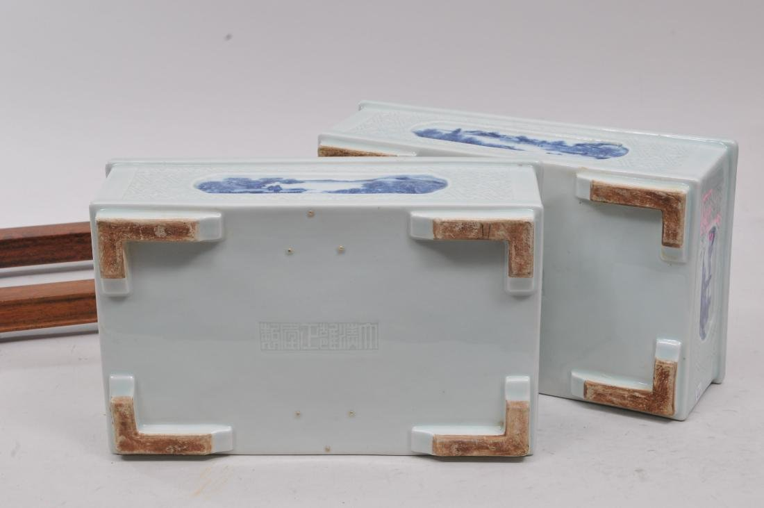 Pair of planters. China. 19th century. Rectangular - 9