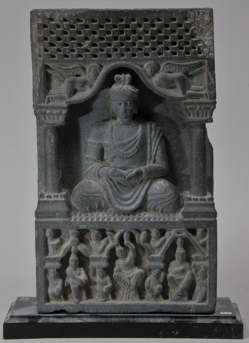 Grey schist carving. Gandharan Kingdom. (3rd c DC-2nd c