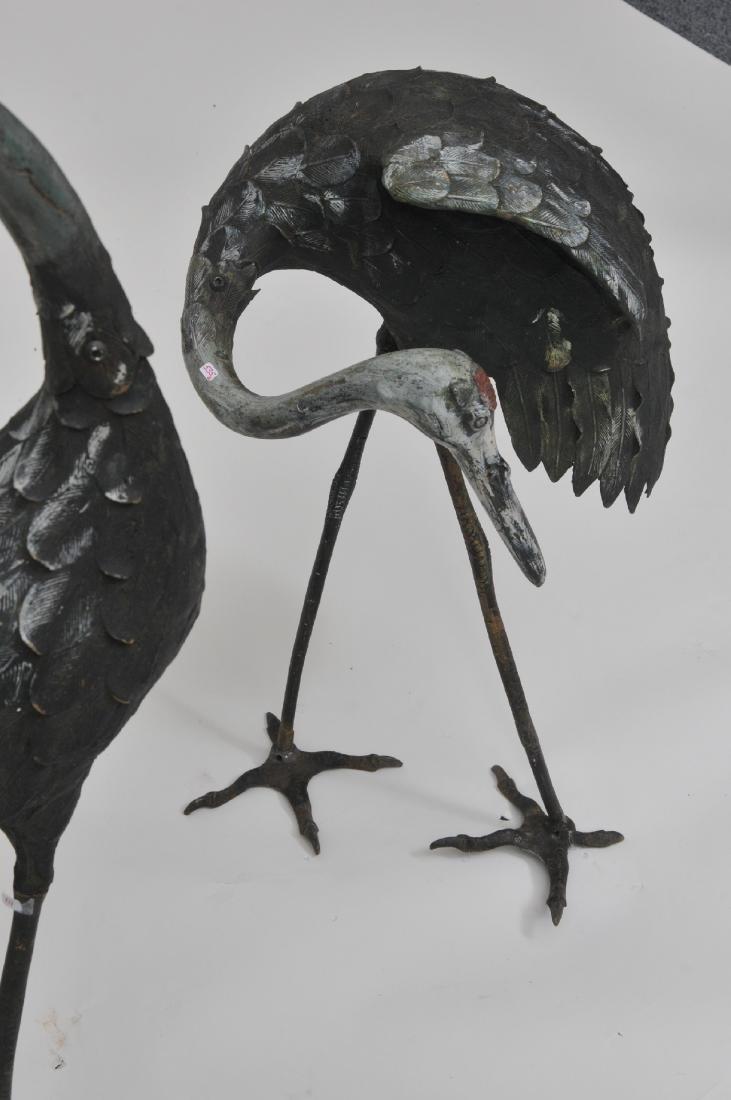 Pair of Bronze cranes. China. 19th century. Paint - 9