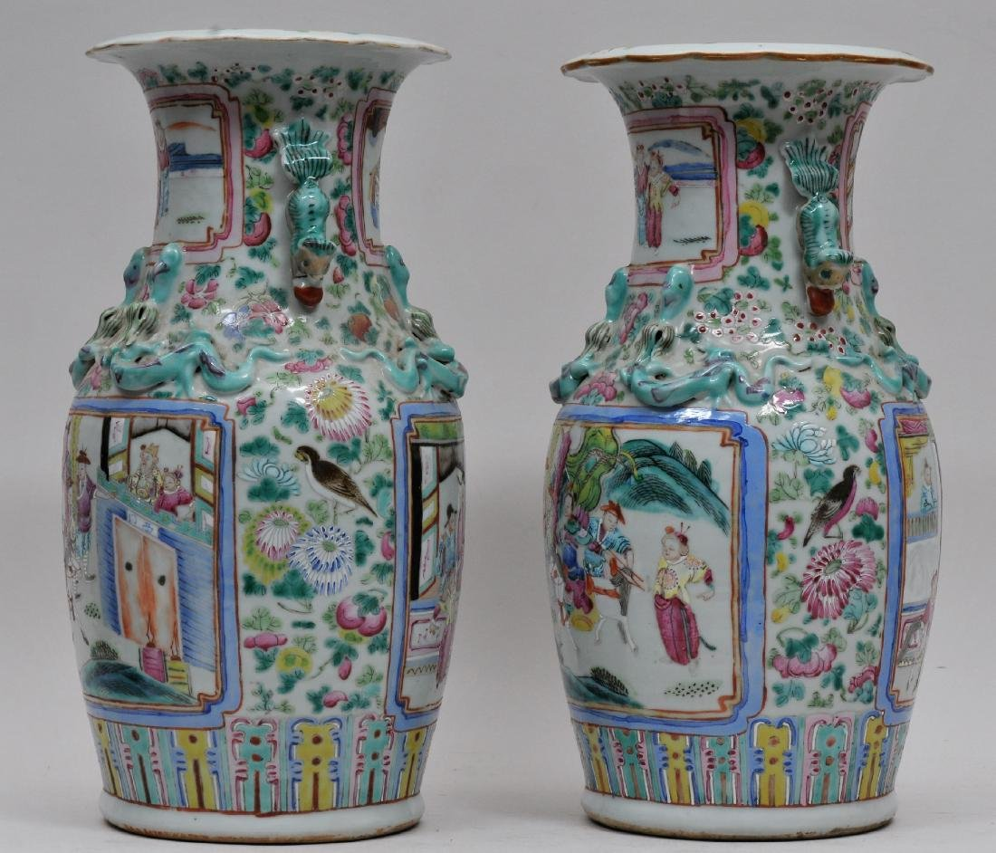 Pair of porcelain vases. China. 19th century. Foo Dog - 6