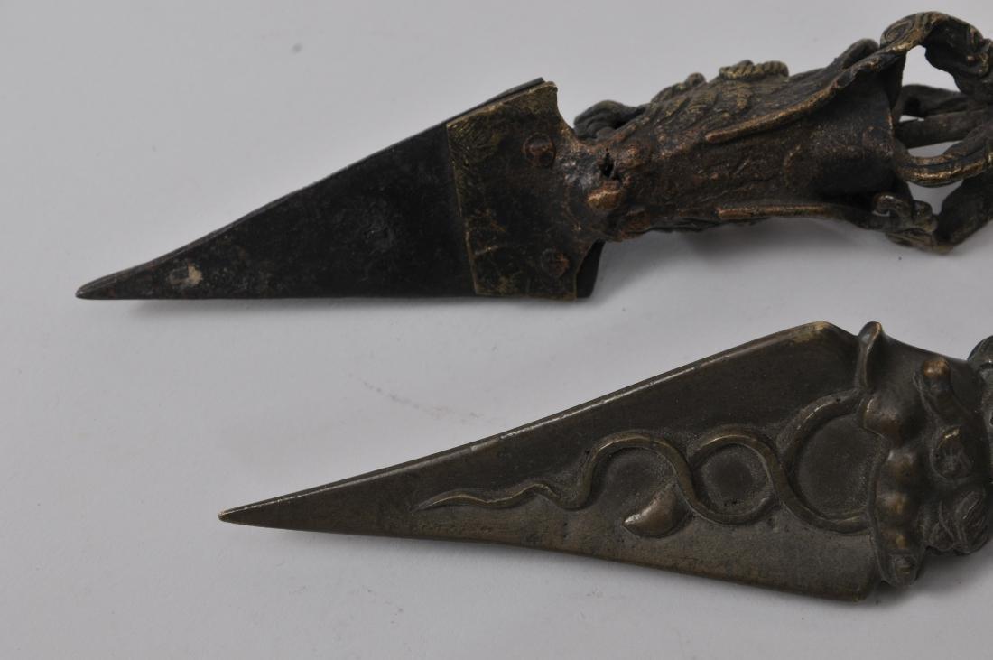 Two bronze ritual knives. Tibet. 19th century. Phurbas - 6