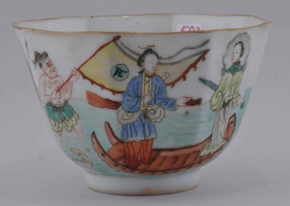 Porcelain cup. China. 19th century. Hexagonal form.