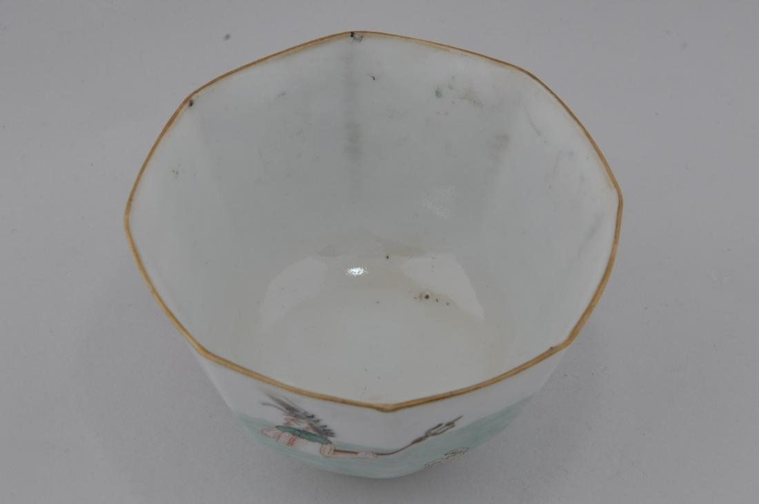Porcelain cup. China. 19th century. Hexagonal form. - 2