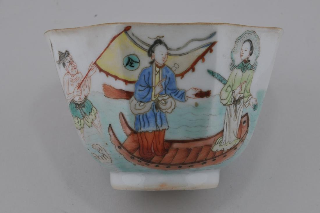 Porcelain cup. China. 19th century. Hexagonal form. - 3