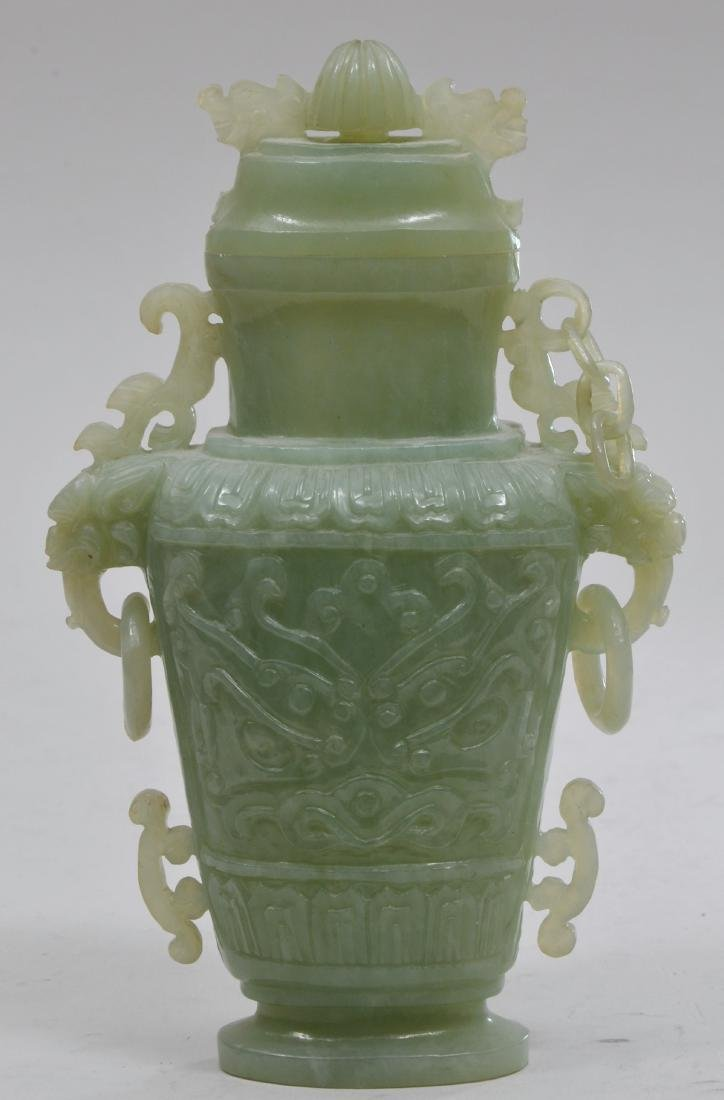 Hardstone covered jar. China. 20th century. Pale green - 3