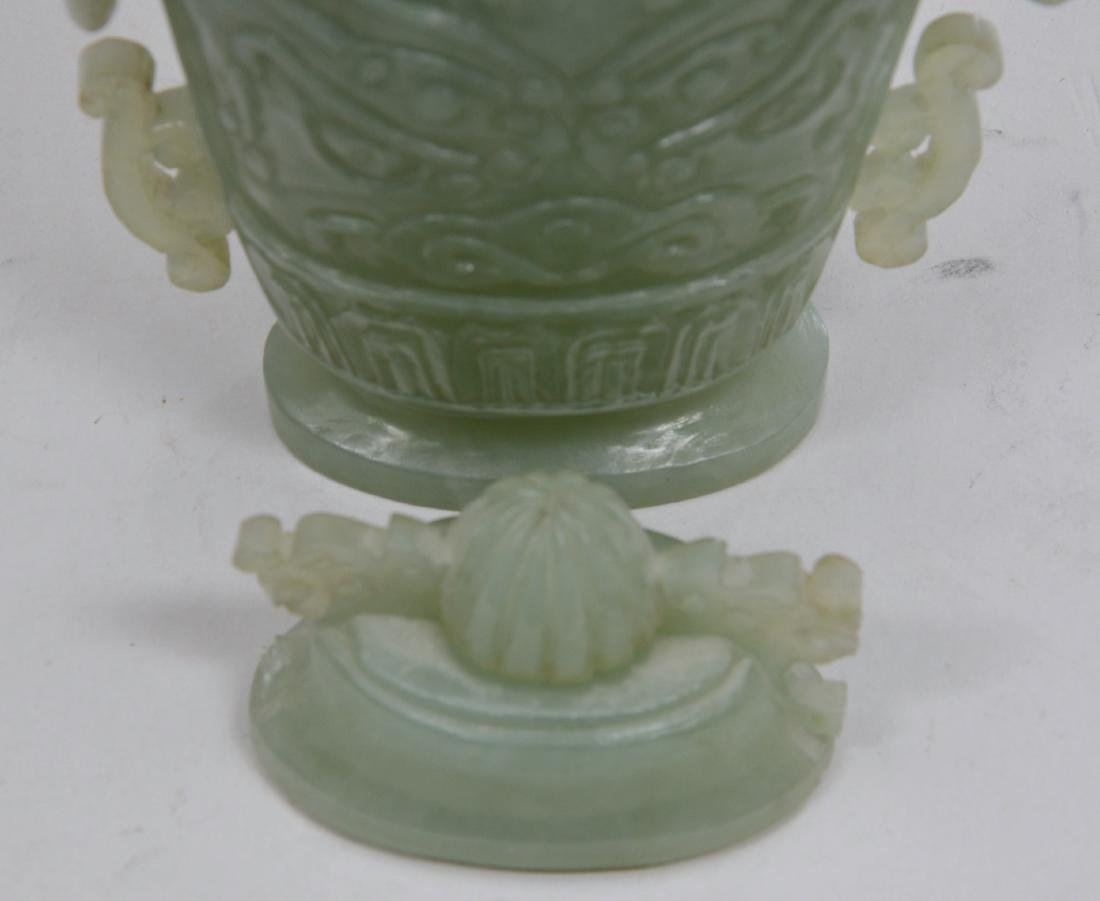 Hardstone covered jar. China. 20th century. Pale green - 5