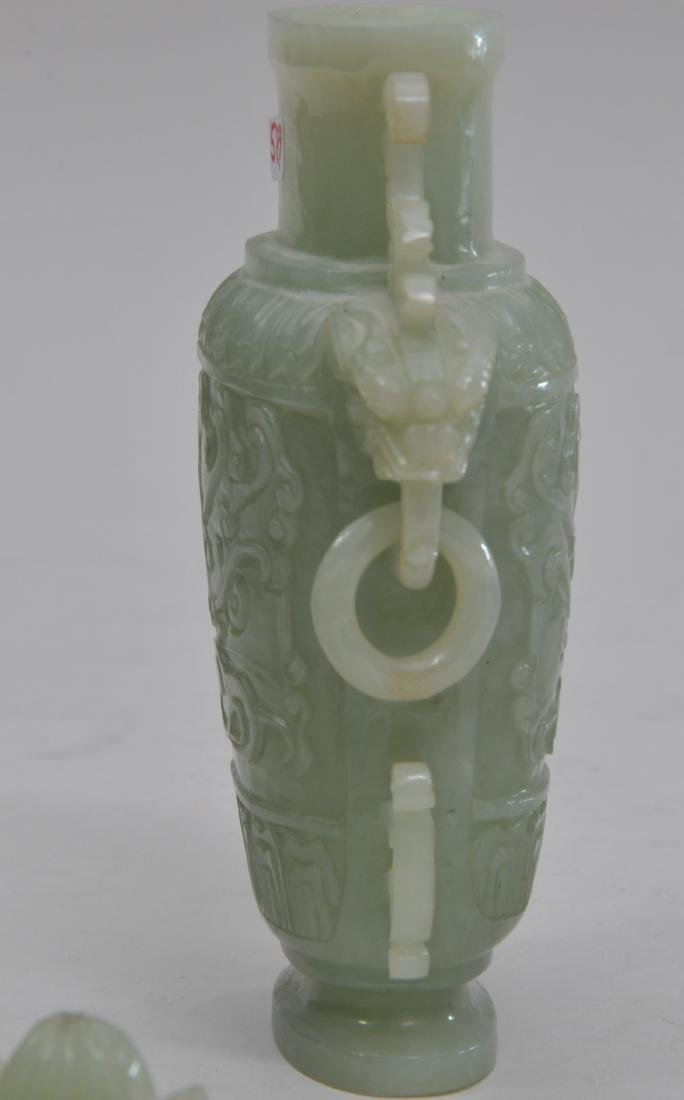 Hardstone covered jar. China. 20th century. Pale green - 6