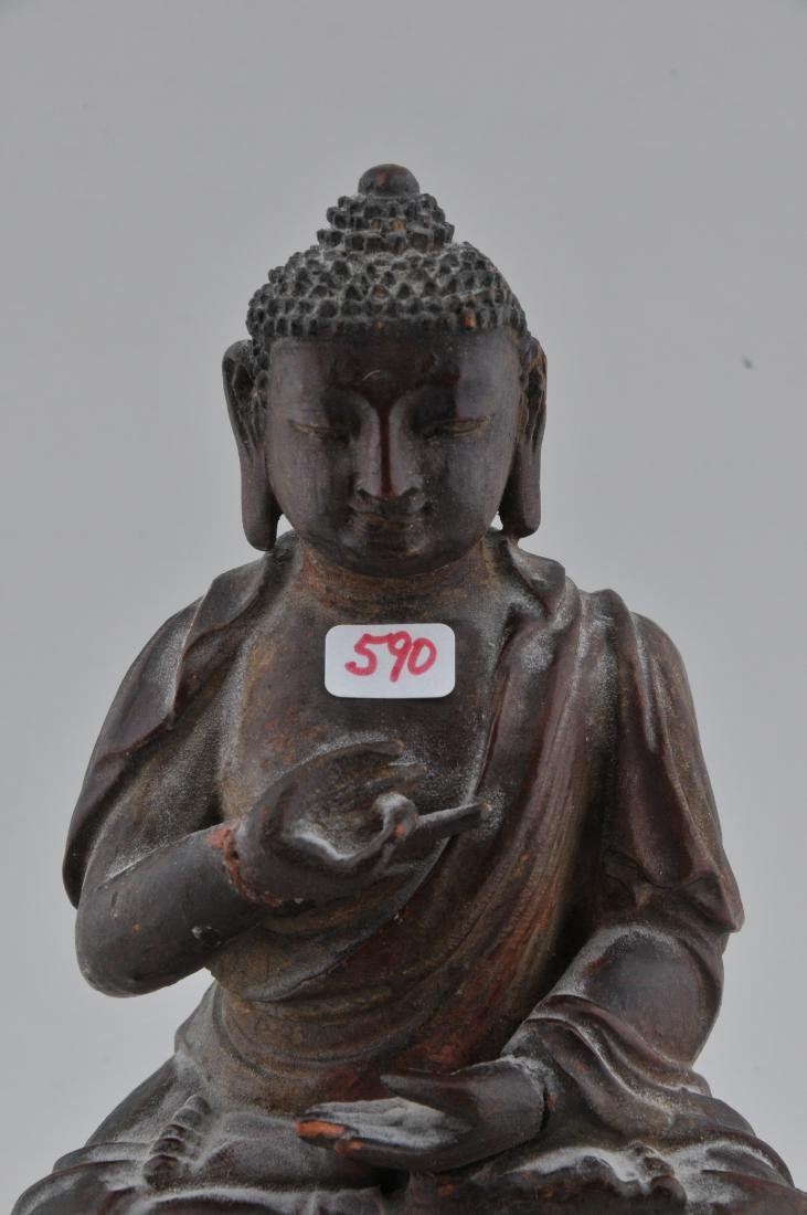 Carved wooden Buddha. China. 18th/19th century. Seated - 2