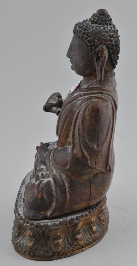 Carved wooden Buddha. China. 18th/19th century. Seated - 3