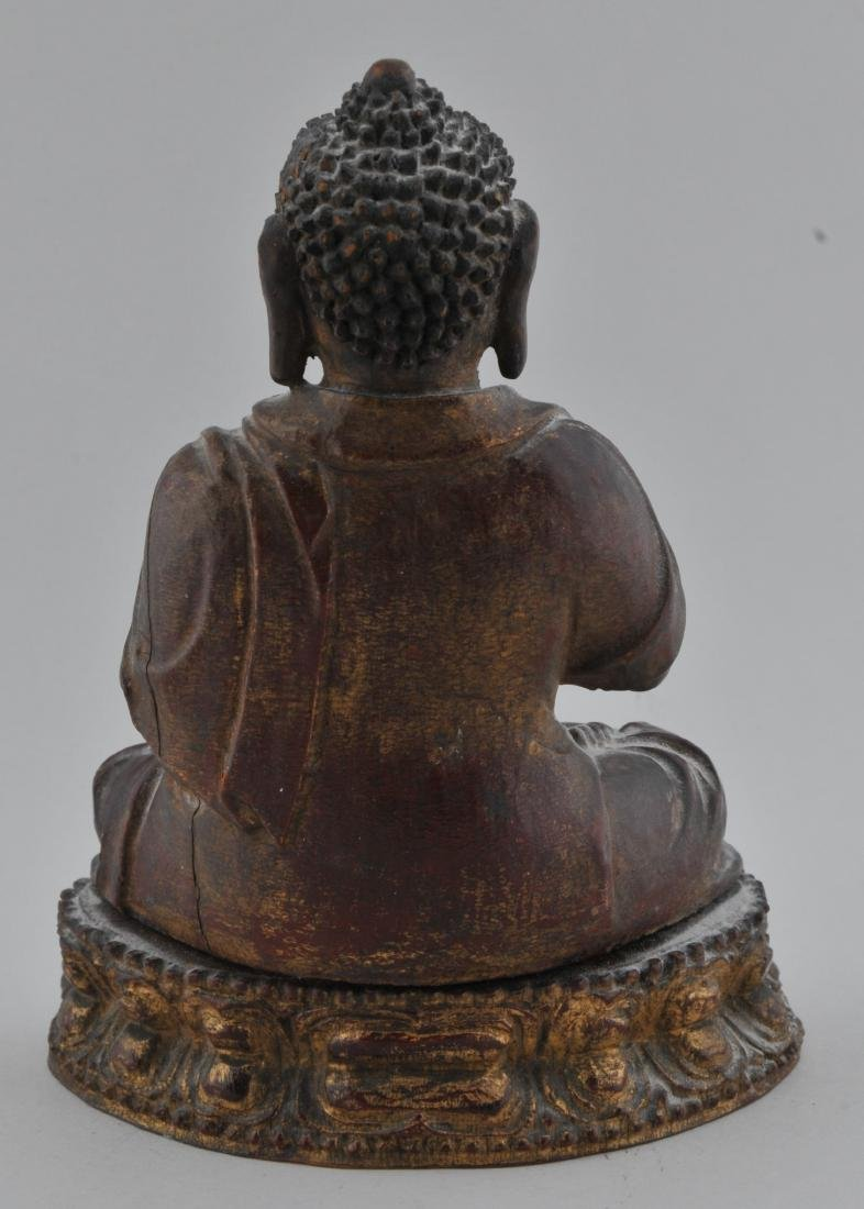 Carved wooden Buddha. China. 18th/19th century. Seated - 4