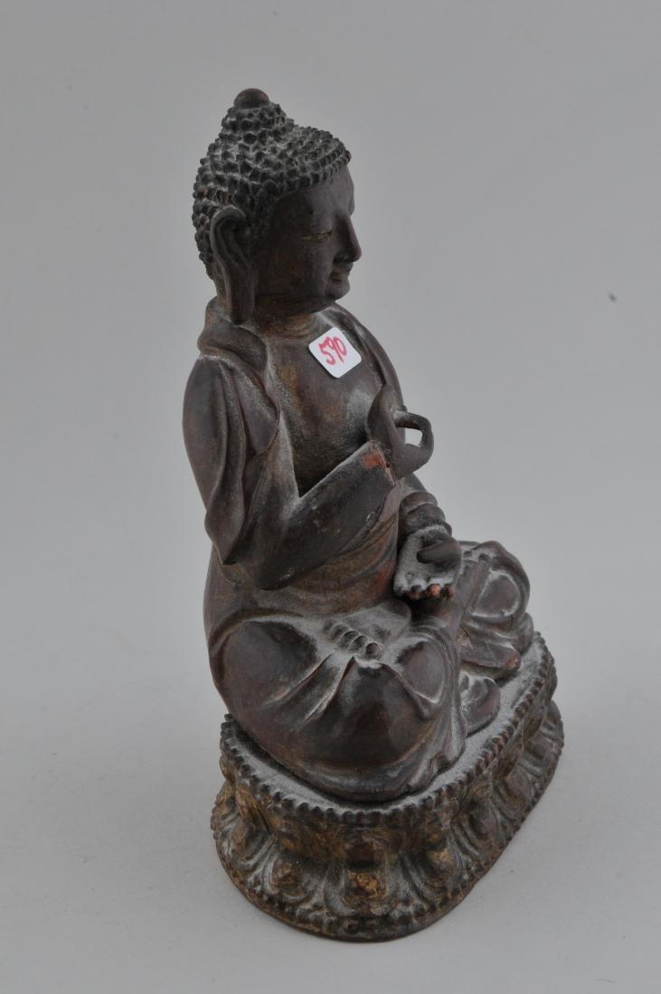 Carved wooden Buddha. China. 18th/19th century. Seated - 5