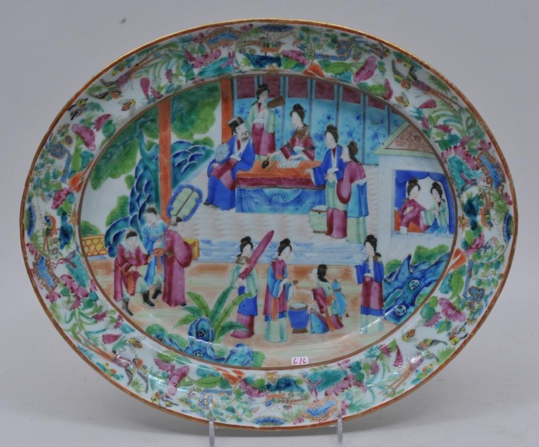 Chinese Export platter. Circa 1830. Rose Mandarin ware.
