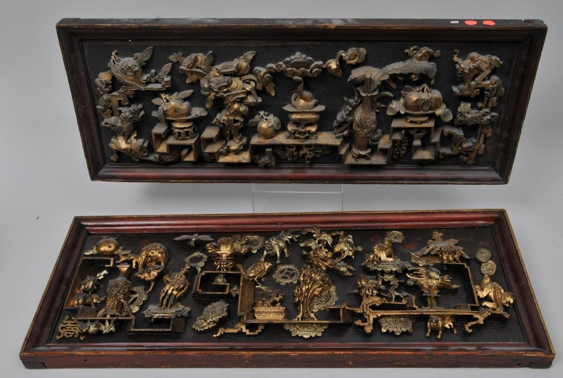 Pair of wood carvings. China. Early 20th century.