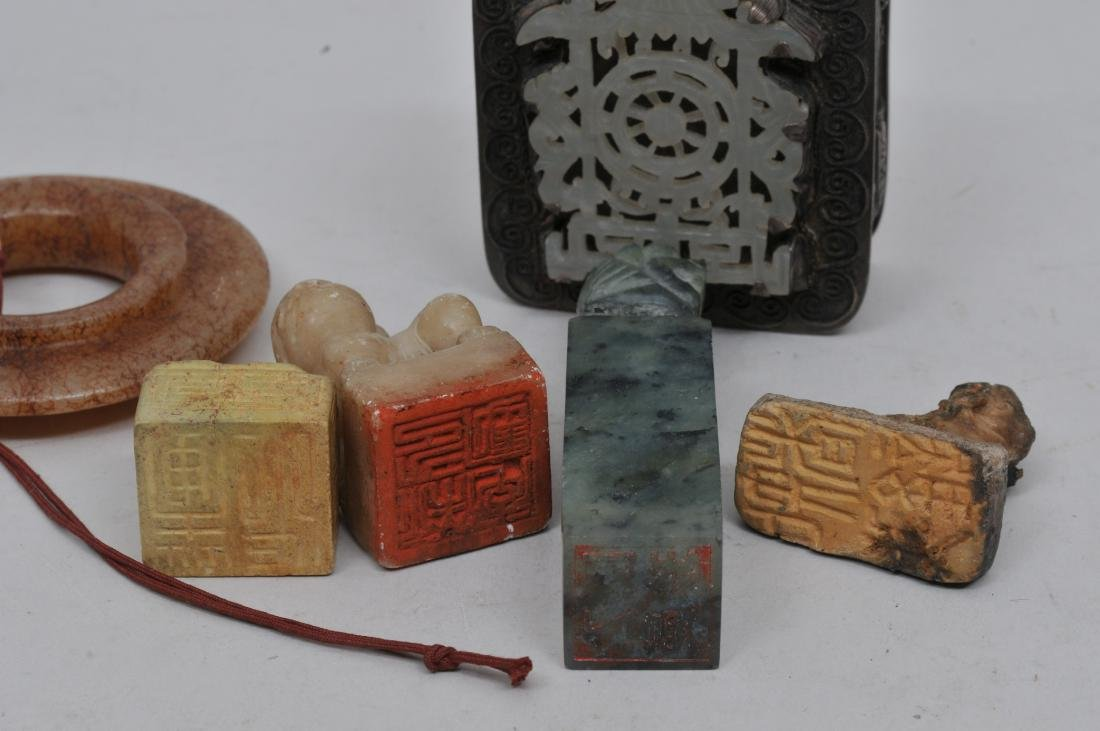 Lot of six items. China. To include: Four seals - 5
