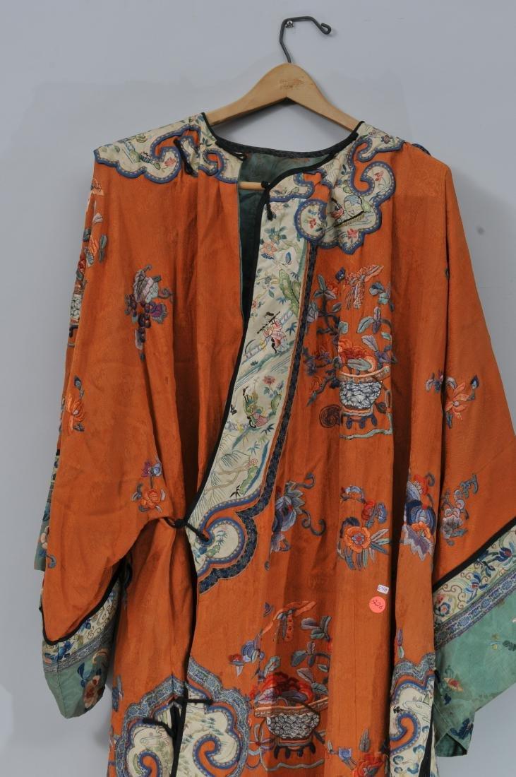 Woman's robe. China. Circa 1920. Orange ground with - 2