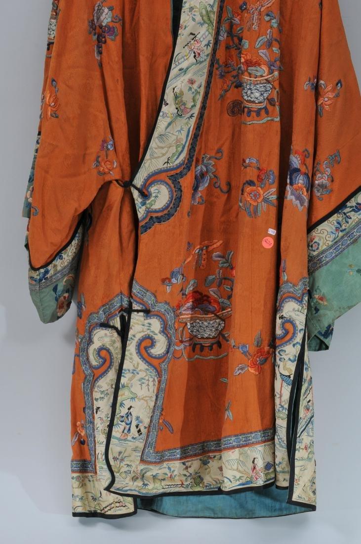 Woman's robe. China. Circa 1920. Orange ground with - 3