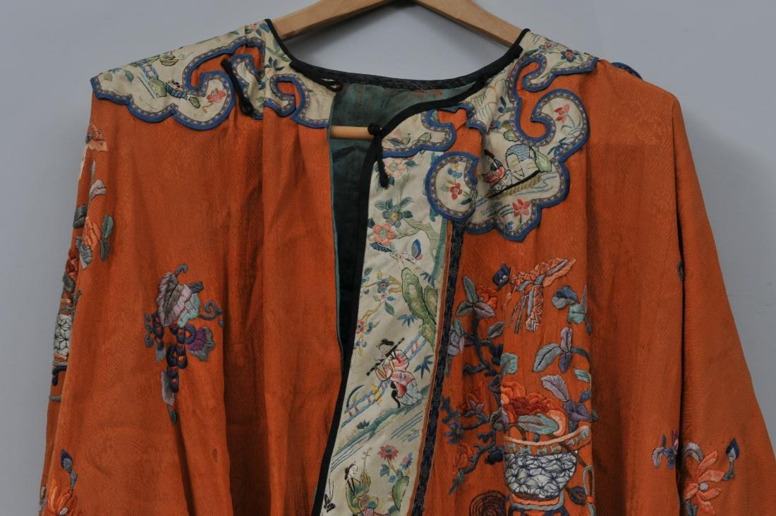 Woman's robe. China. Circa 1920. Orange ground with - 4