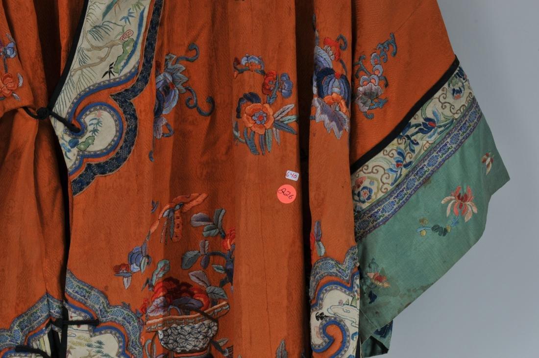Woman's robe. China. Circa 1920. Orange ground with - 5