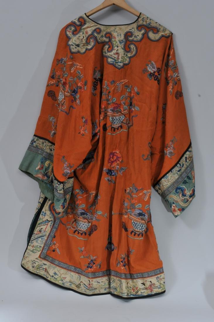 Woman's robe. China. Circa 1920. Orange ground with - 6