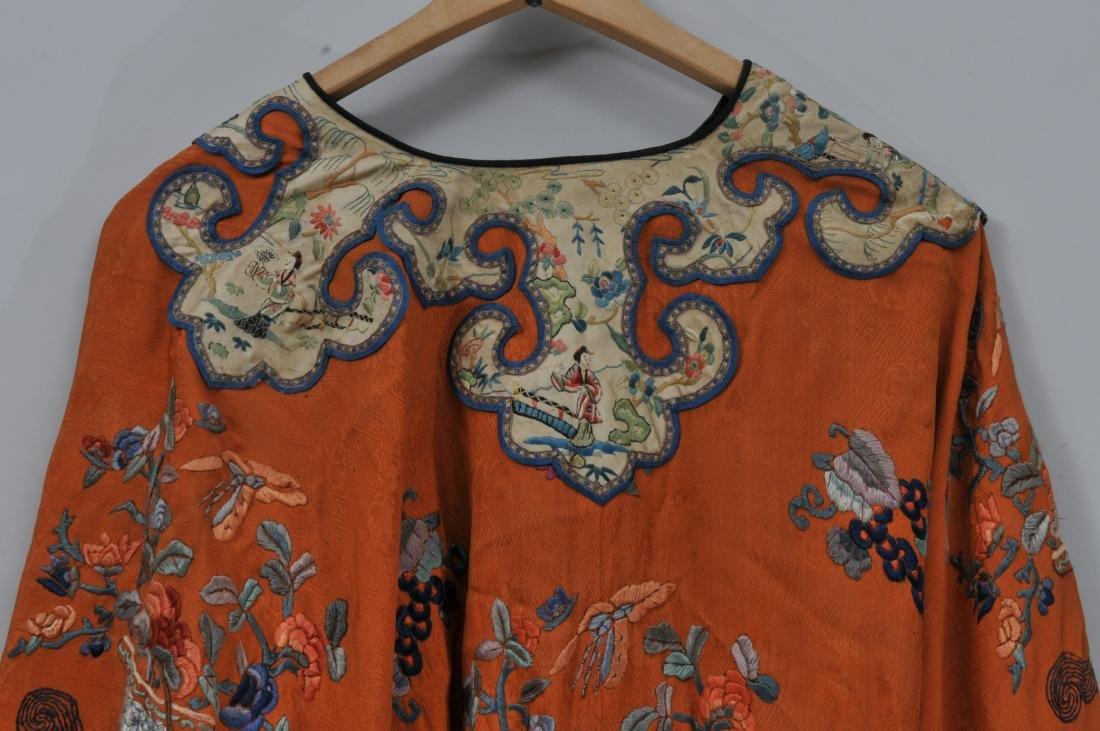 Woman's robe. China. Circa 1920. Orange ground with - 7