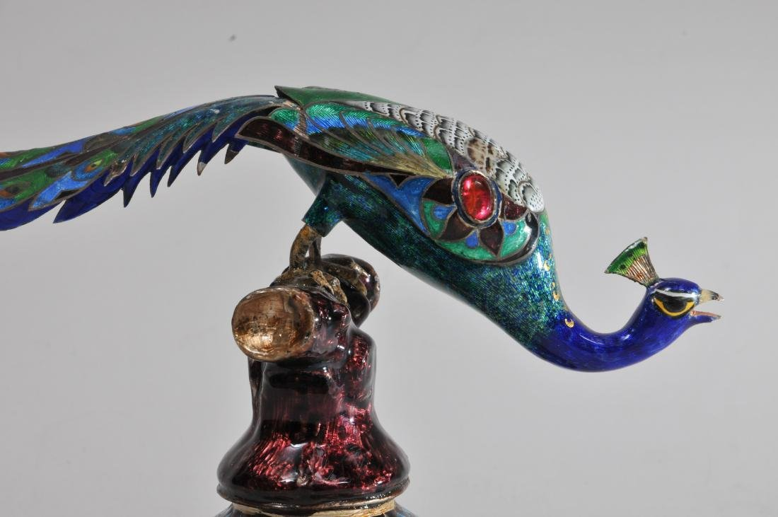 Enameled silver peacock. India. Probably Jaipur. 19th - 2