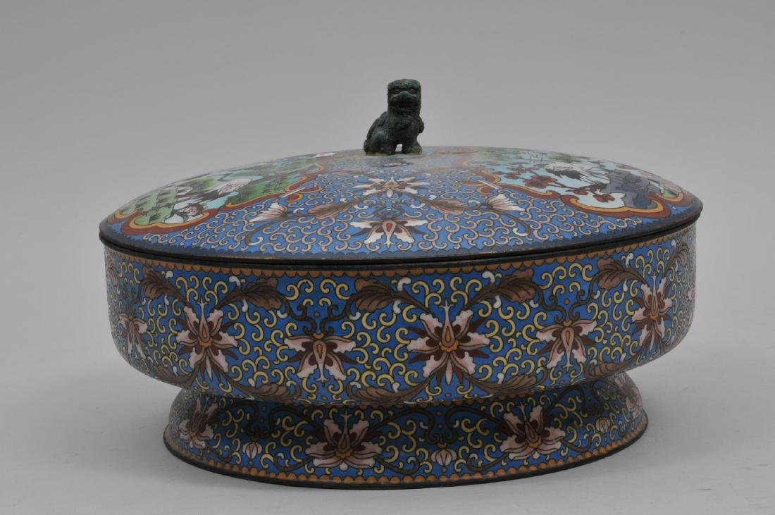 Cloisonné covered bowl. China. 20th century. Foo dog - 10