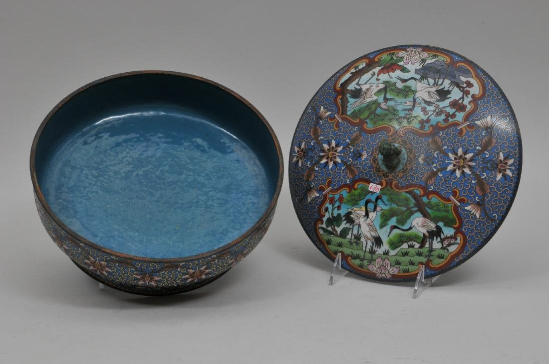 Cloisonné covered bowl. China. 20th century. Foo dog - 2