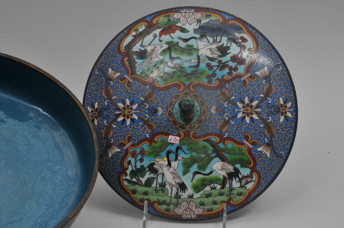 Cloisonné covered bowl. China. 20th century. Foo dog - 3