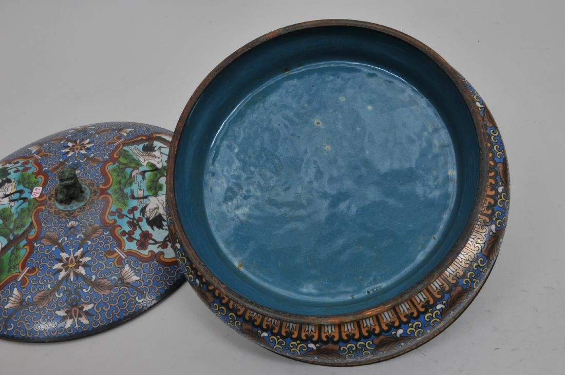 Cloisonné covered bowl. China. 20th century. Foo dog - 8