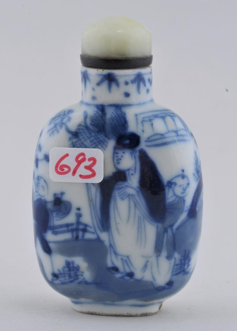 Porcelain Snuff bottle. China. 19th century. Underglaze