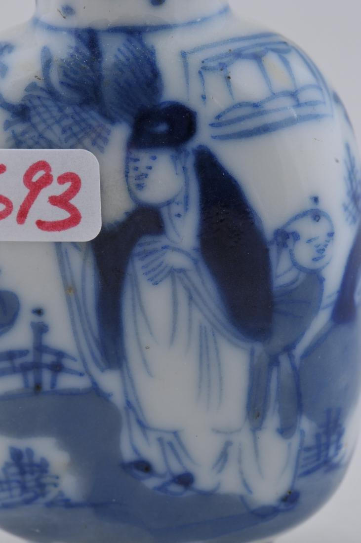 Porcelain Snuff bottle. China. 19th century. Underglaze - 2