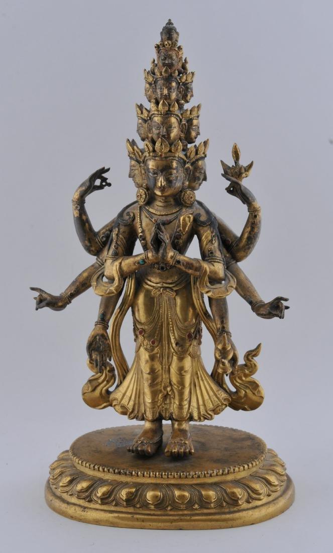 Gilt bronze Buddha. Sino-Tibetan. 18th century.