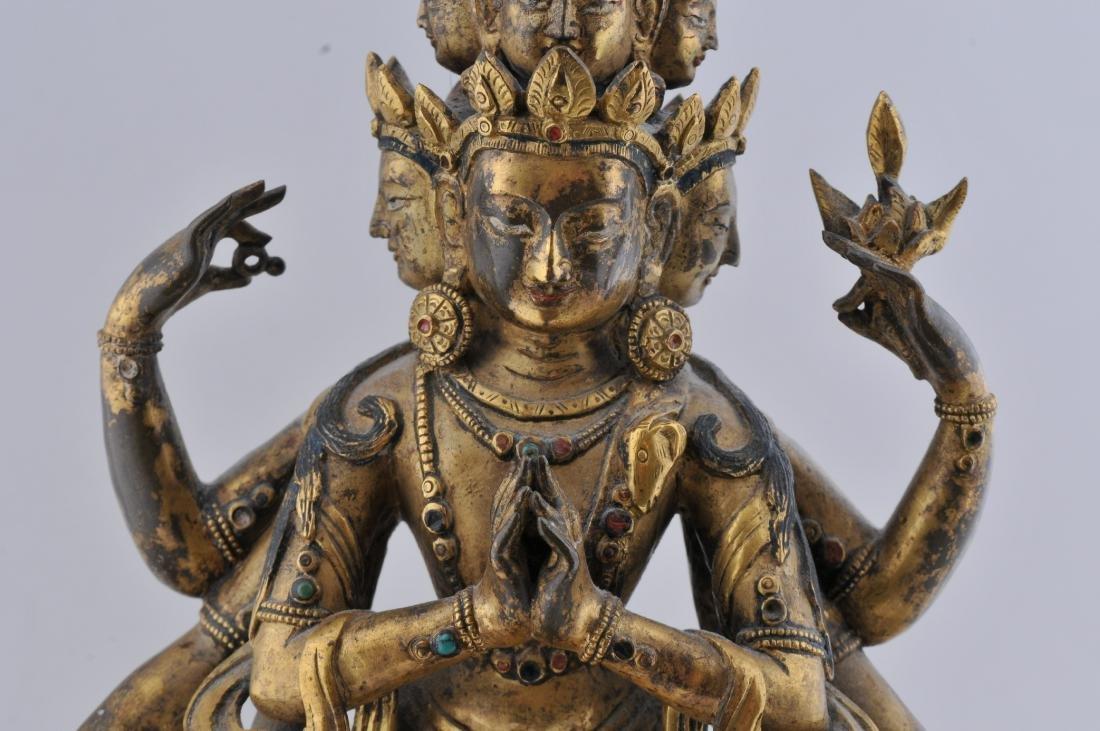 Gilt bronze Buddha. Sino-Tibetan. 18th century. - 3