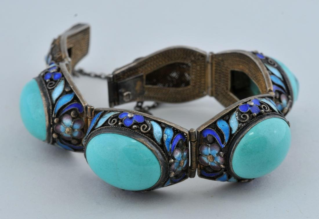Turquoise and silver bracelet. China. 20th century.