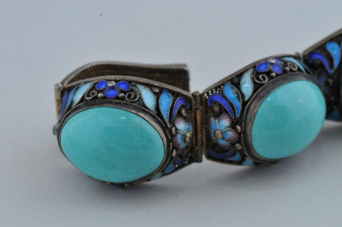 Turquoise and silver bracelet. China. 20th century. - 3