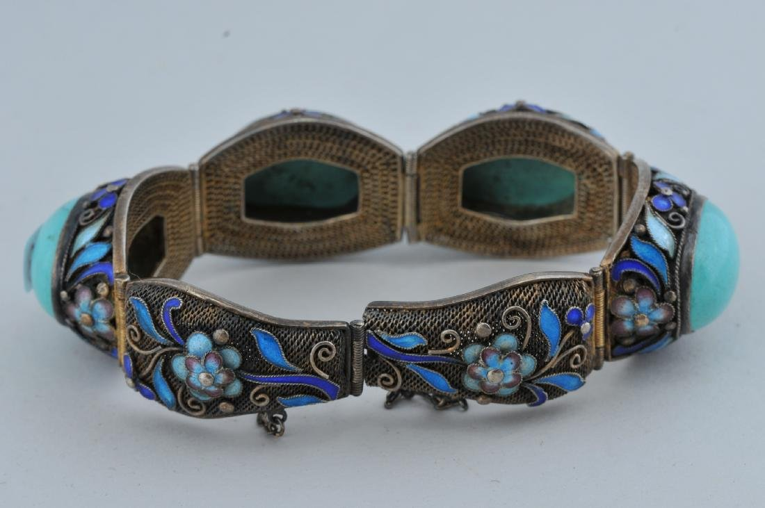 Turquoise and silver bracelet. China. 20th century. - 4