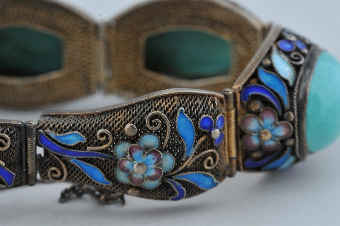 Turquoise and silver bracelet. China. 20th century. - 5
