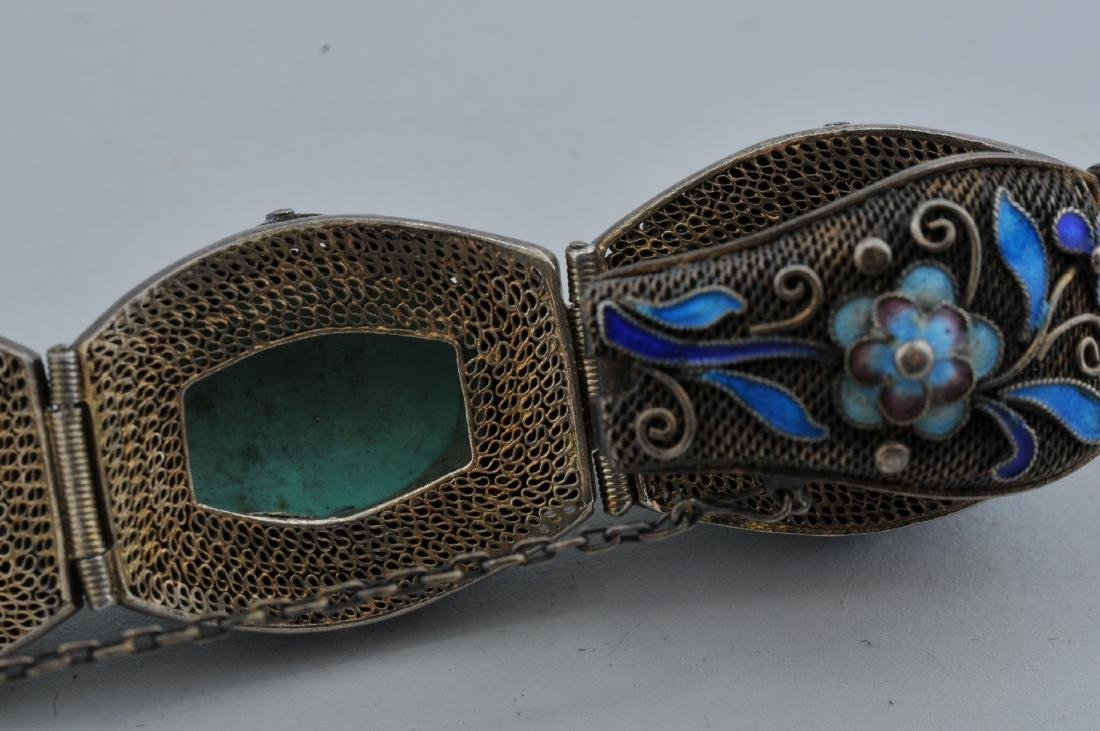 Turquoise and silver bracelet. China. 20th century. - 6