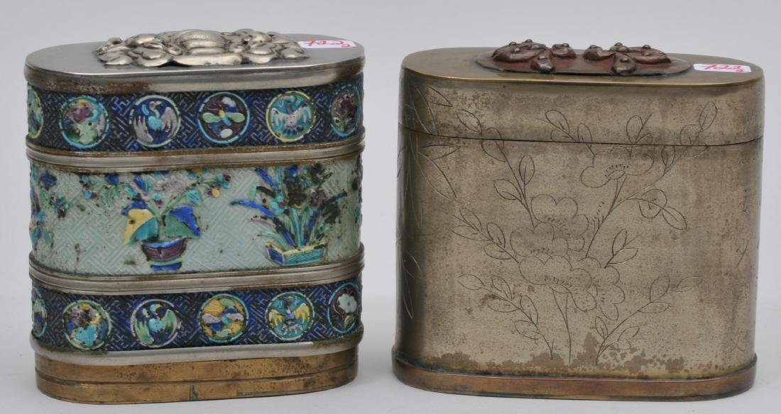 Lot of two Paktong boxes. China. Early 20th century.
