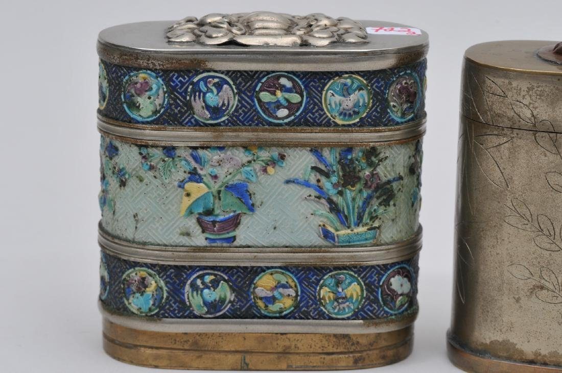 Lot of two Paktong boxes. China. Early 20th century. - 2