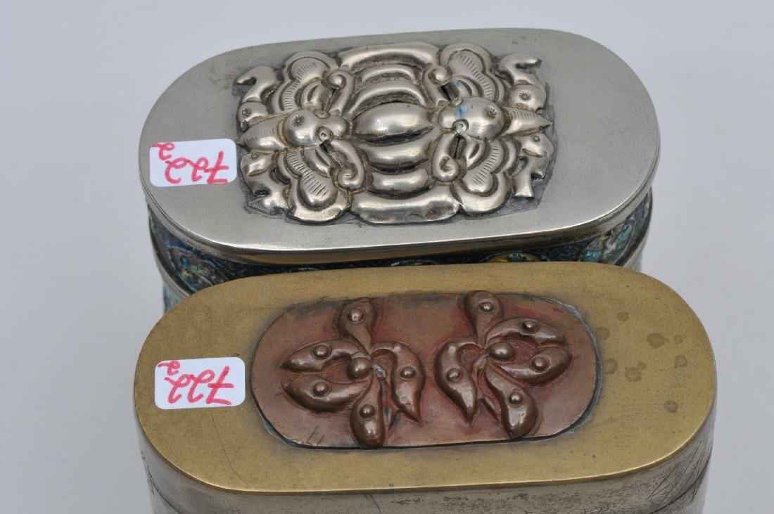Lot of two Paktong boxes. China. Early 20th century. - 6