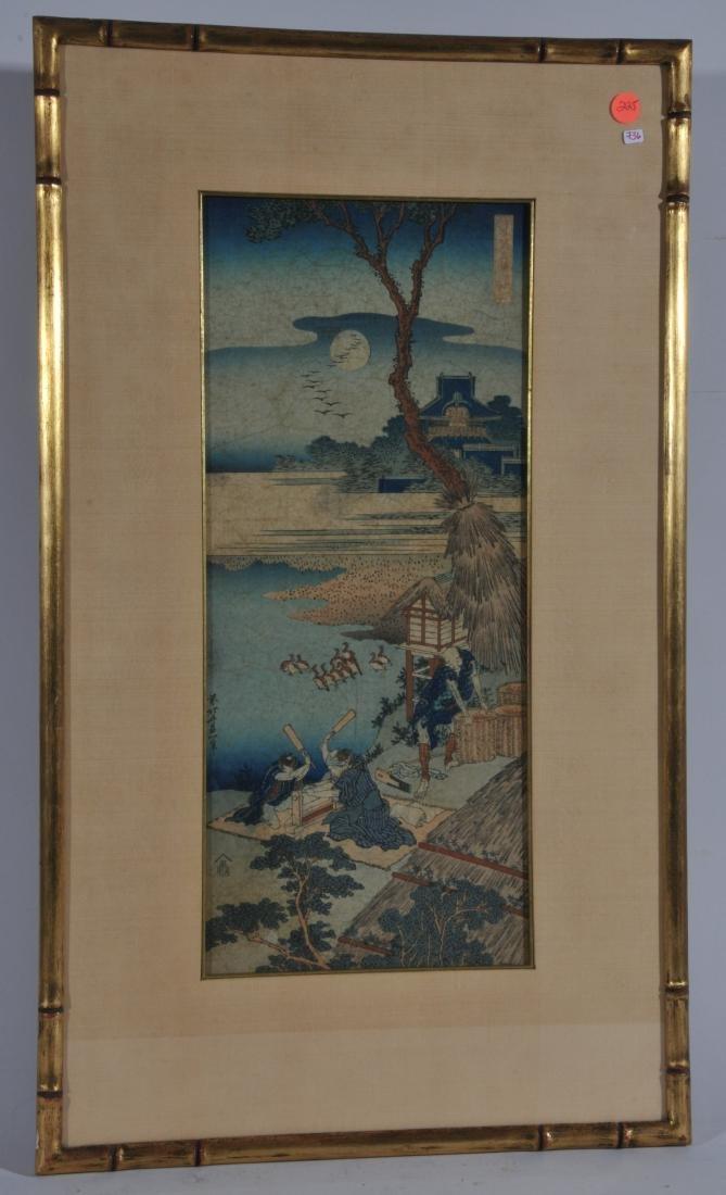 Woodblock print. Japan. Signed Hokusai. Framed and