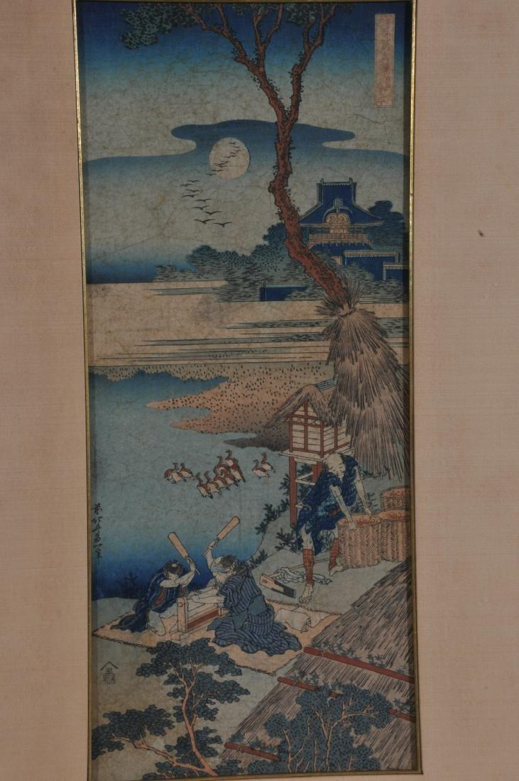 Woodblock print. Japan. Signed Hokusai. Framed and - 2