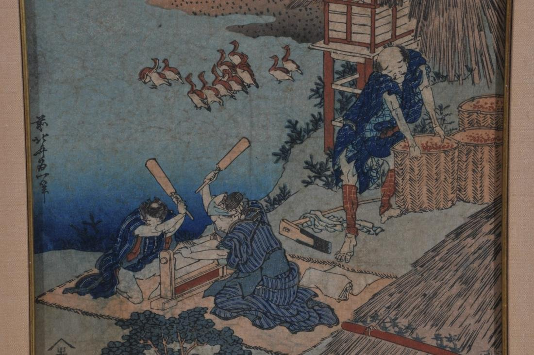 Woodblock print. Japan. Signed Hokusai. Framed and - 3