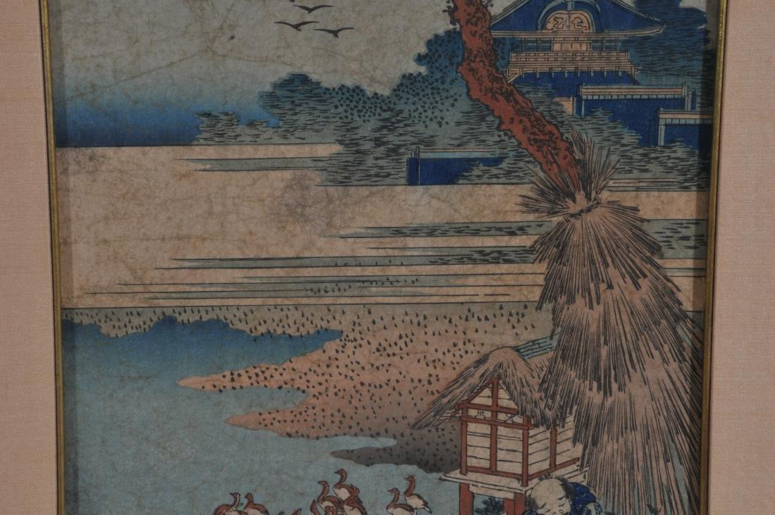 Woodblock print. Japan. Signed Hokusai. Framed and - 6